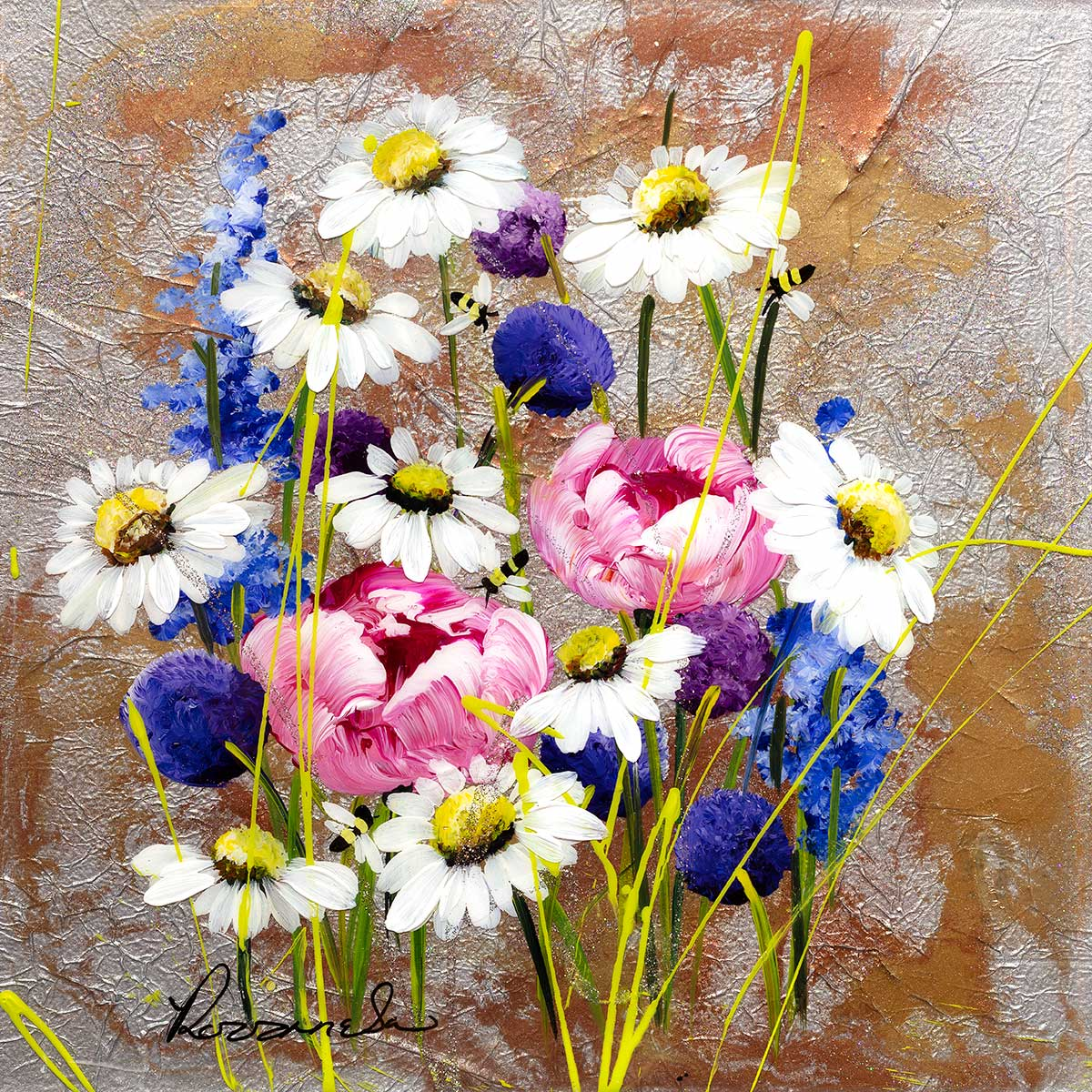 Flowers and Daisies - Original Rozanne Bell Framed