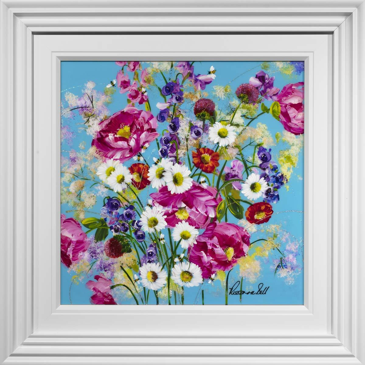 Pop Floral I - Original Rozanne Bell Framed