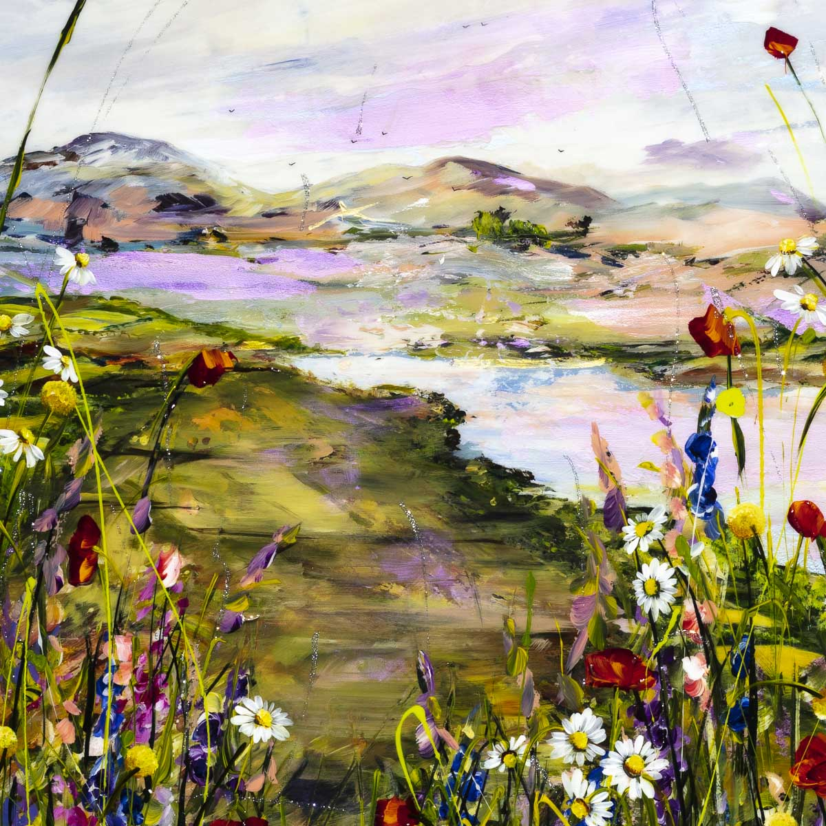 Poppies by the Lake - Original Rozanne Bell Framed