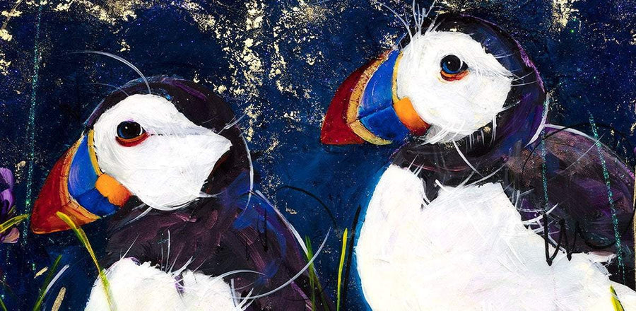 Puffins With Irises - Original Rozanne Bell Framed