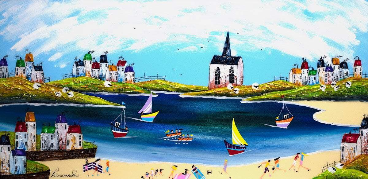 Seaside Fun - Original Rozanne Bell Framed