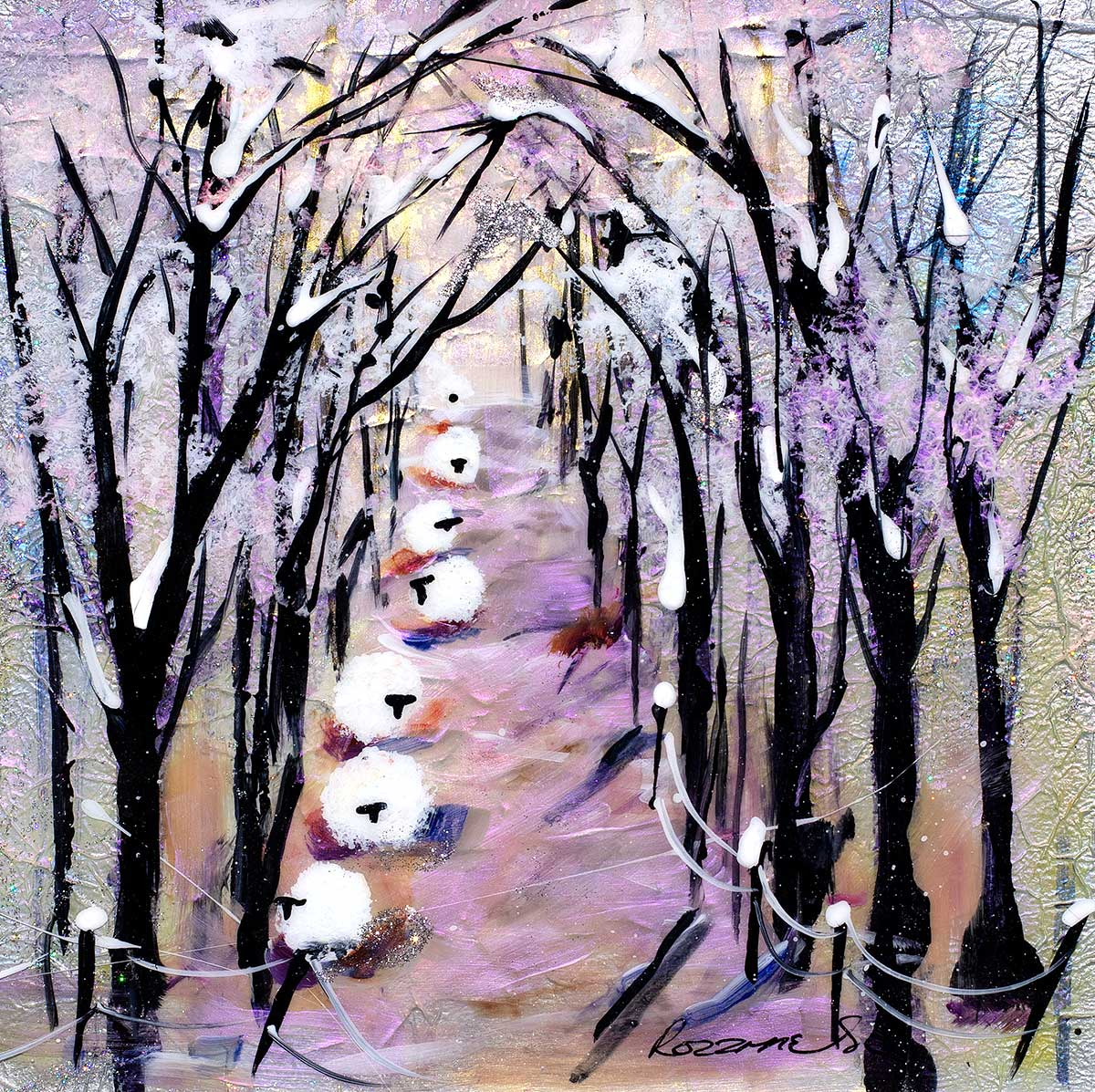 Winter Colour II -Original Rozanne Bell Framed