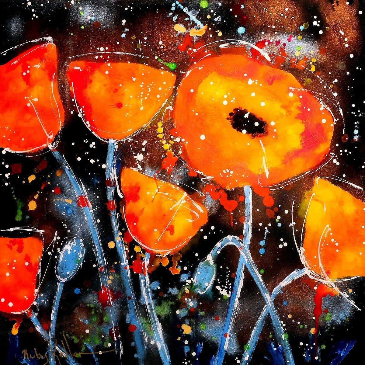 Dancing Poppies I - SOLD Ruby Keller