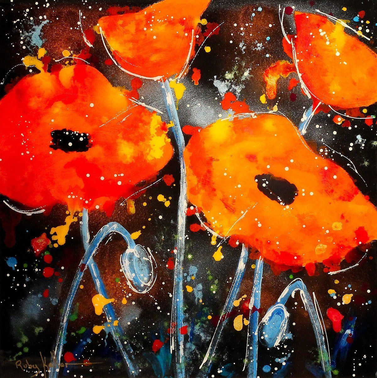 Dancing Poppies II - SOLD Ruby Keller
