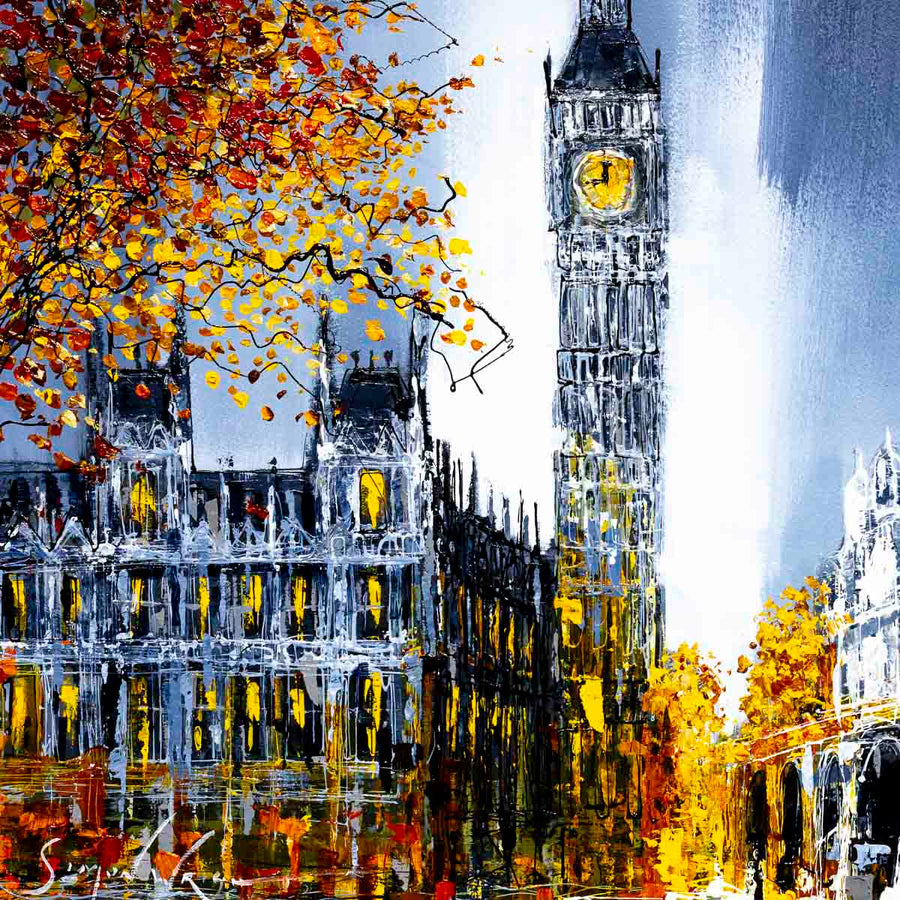Big Ben at Night - Original Simon Wright Framed