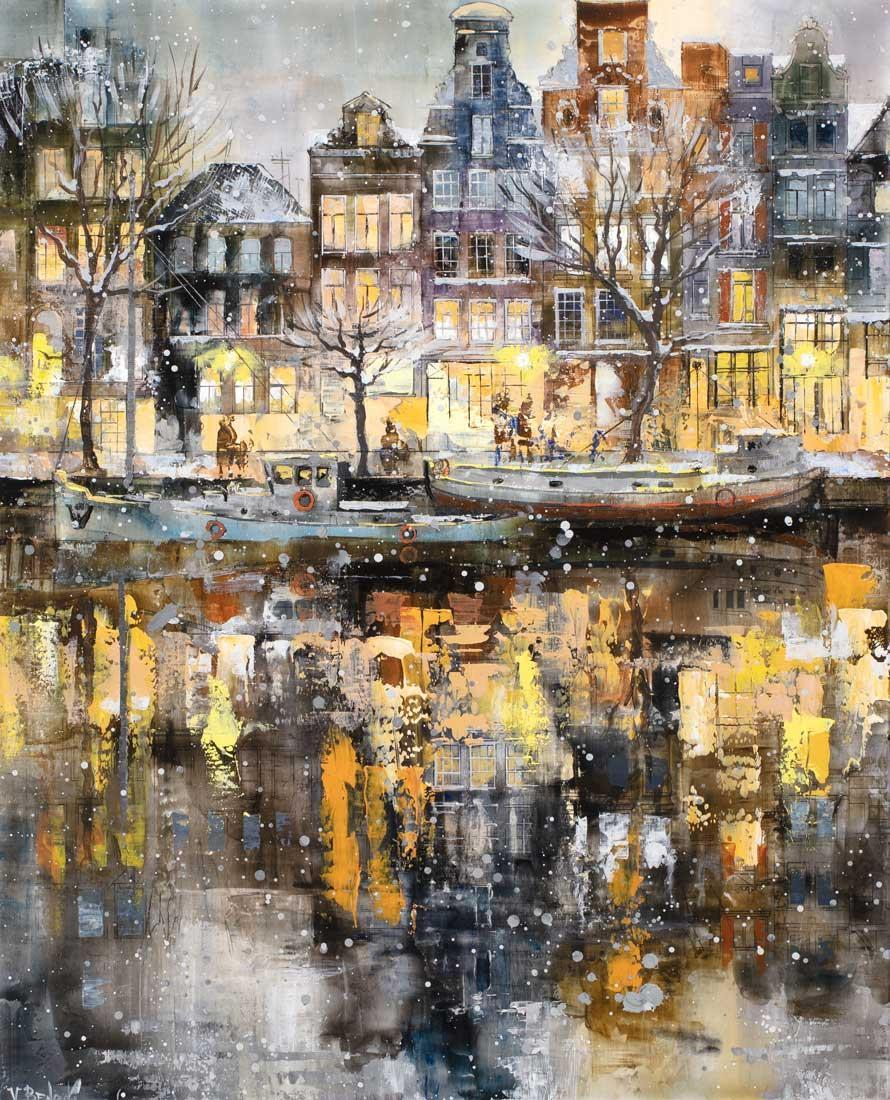 Snowing in Amsterdam Veronika Benoni Framed