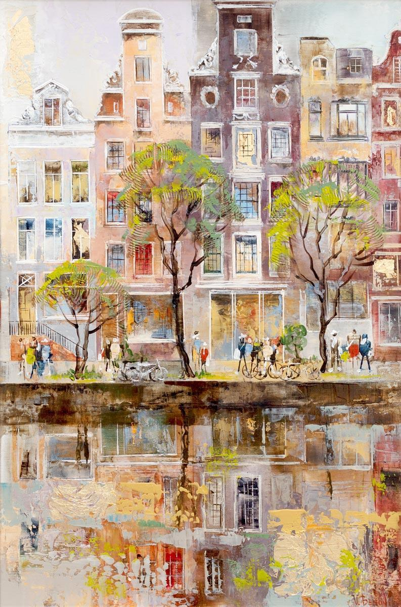 Stroll Along The Canal Veronika Benoni Framed