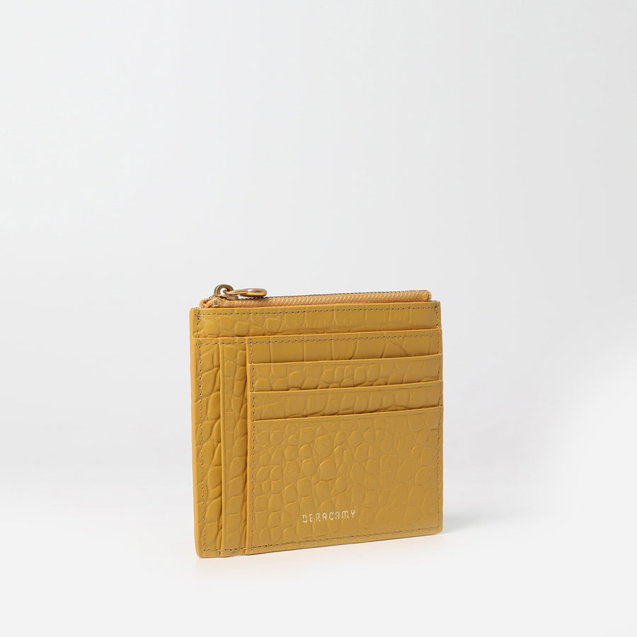 Zip Card Pouch - Embossed Yellow