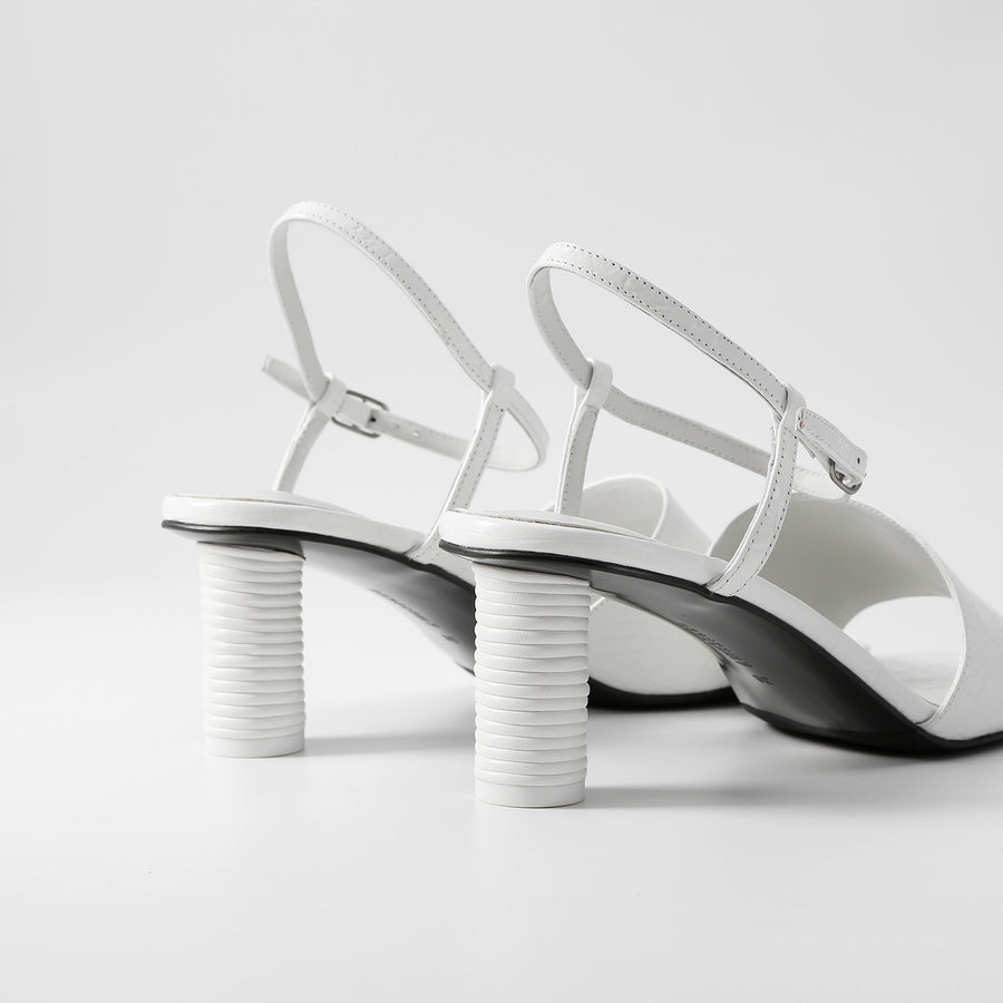 HANNA Heeled Sandals - Croc-embossed White