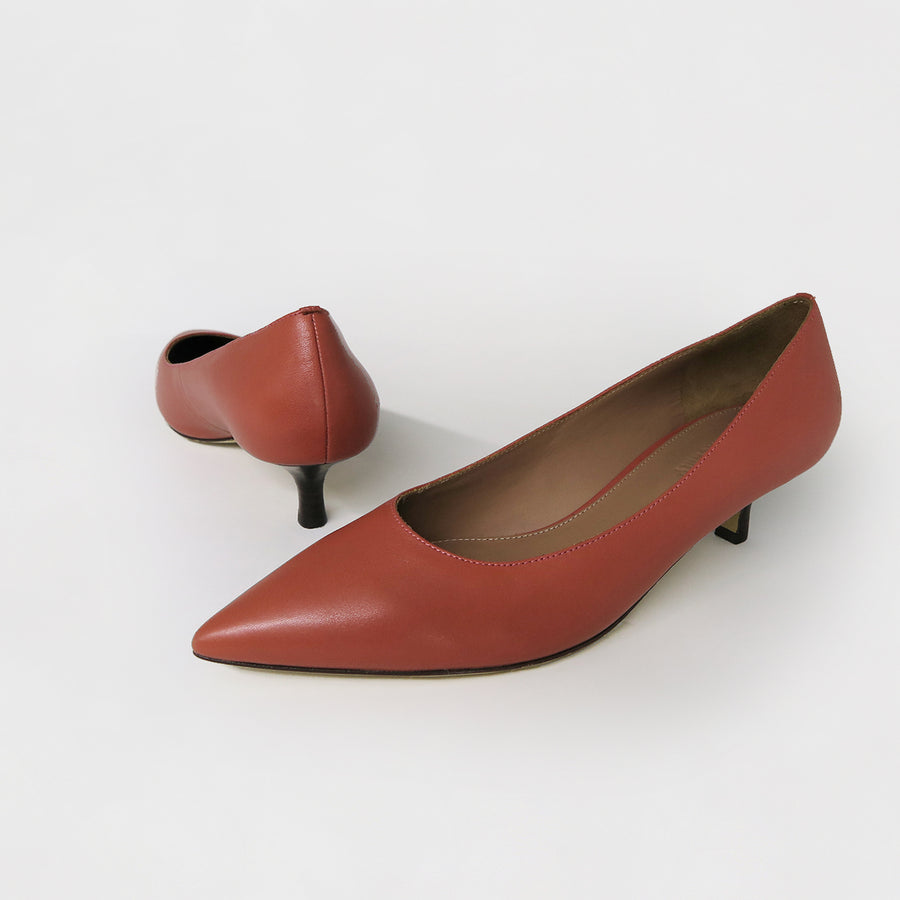 LOUISE Escarpin Talon Bas - Rouge Brique