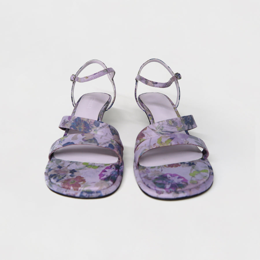 ANYA Heeled Sandals - Flower Printed Lilac