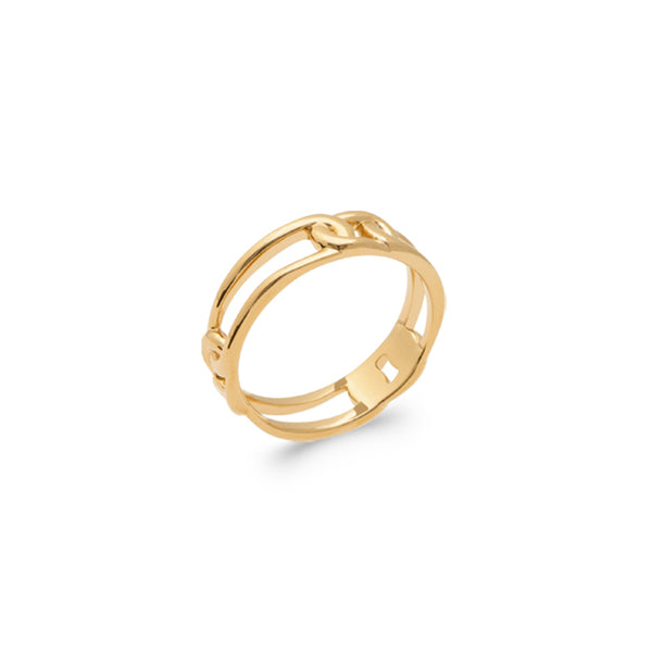 BAGUE CHAINE SIMPLE PLAQUE OR