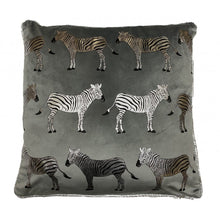 Load image into Gallery viewer, Zebra Trail Silver Foil Cushion