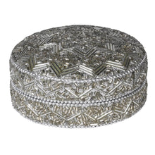 Load image into Gallery viewer, Silver Beaded Trinket Box