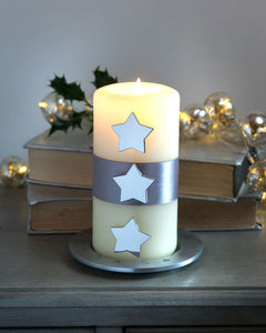 Set of 3 Nickel Star Candle Pins