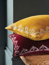 Load image into Gallery viewer, Embroidered Gold velvet cushion