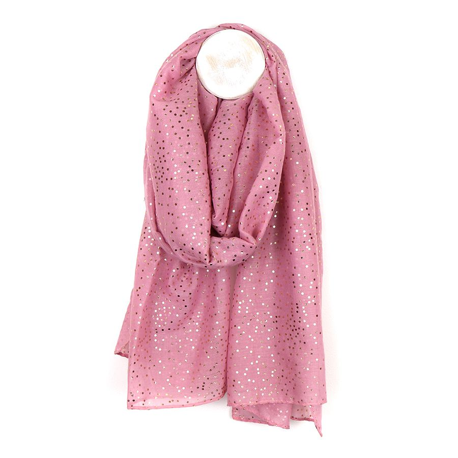 Soft Pink & Rose Gold Polka Dot Scarf