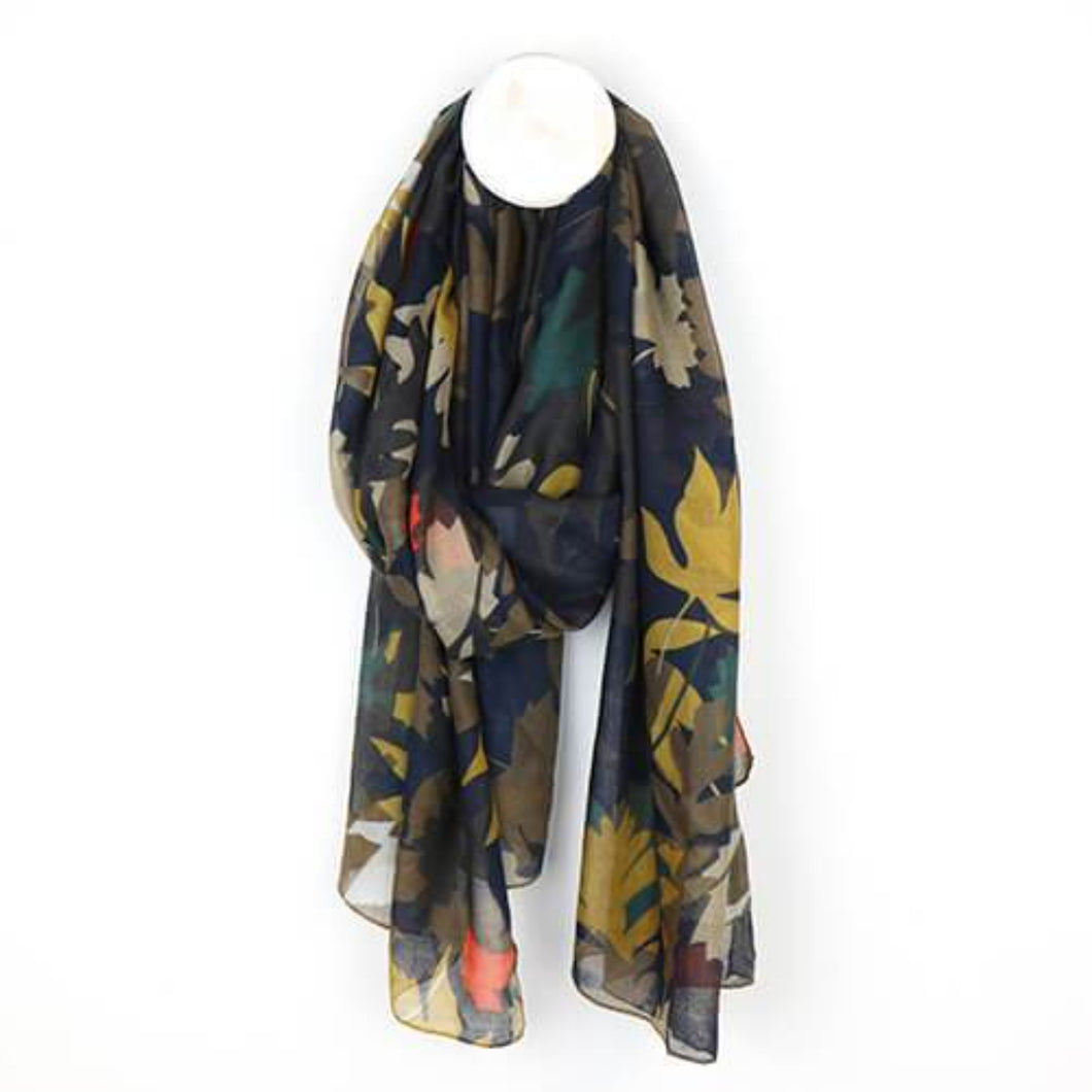 Mustard and Teal Mix Overlapped Leaf Print Scarf