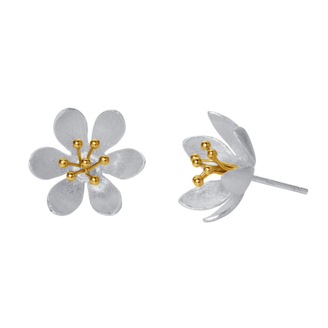 Water lily Stud Sterling & Gold Silver Earrings