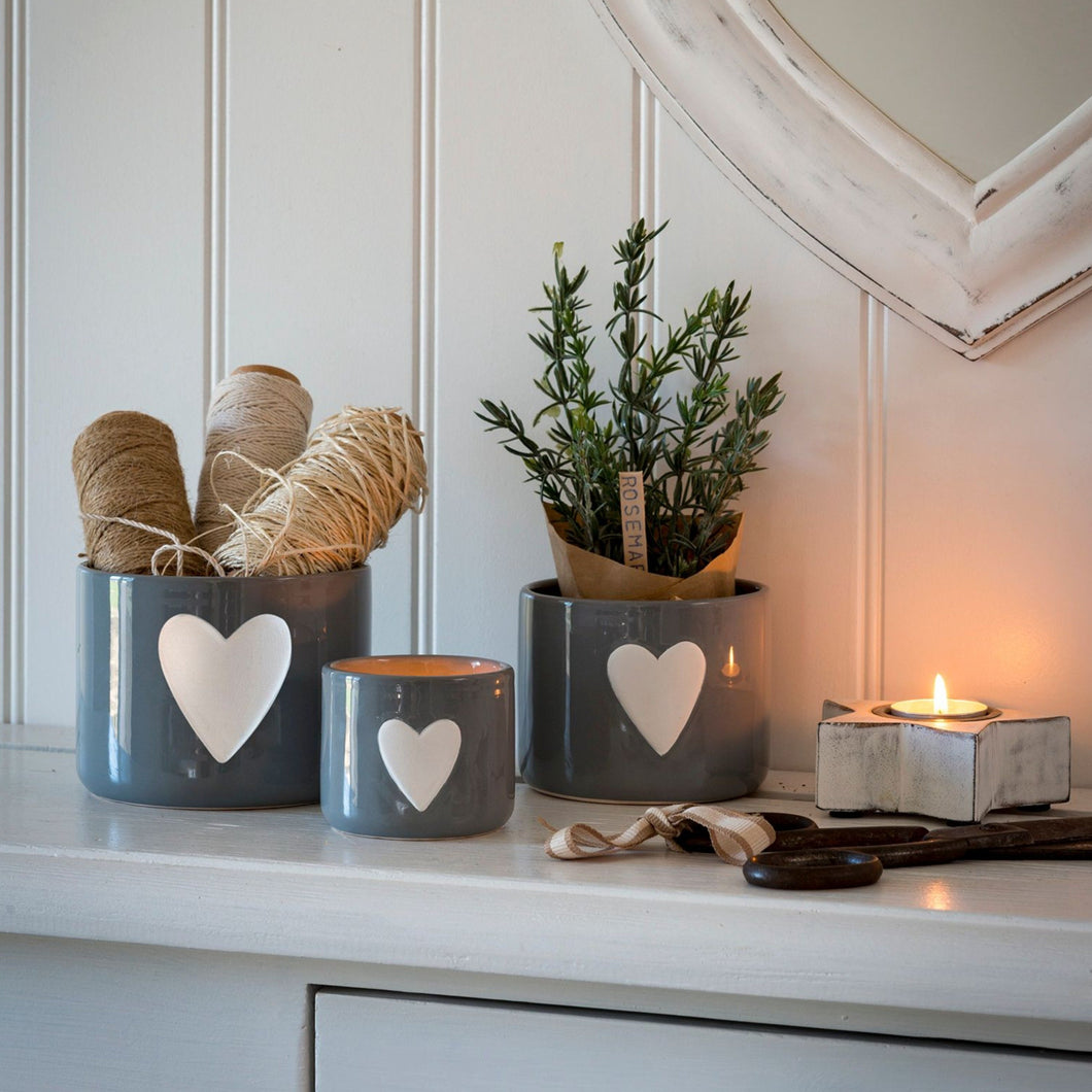 White Heart Grey Ceramic Pot