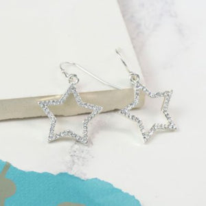 Silver Plated Crystal Star Drop Earrings