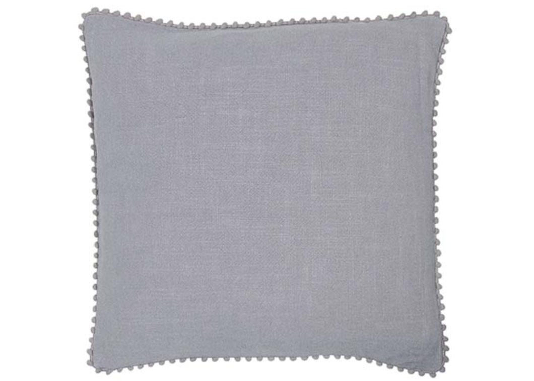 Linen Grey Cushion with Small Pom Pom Cushion