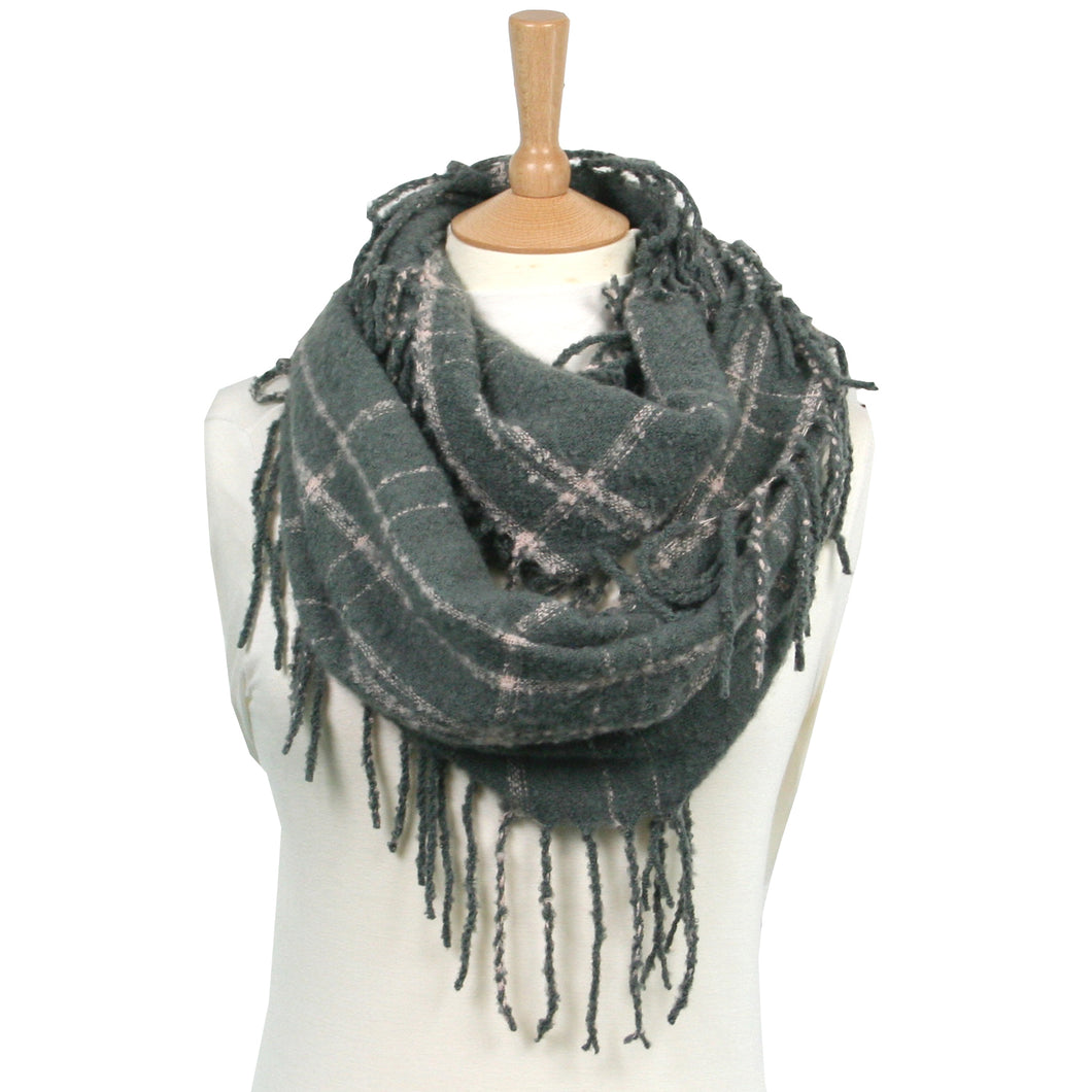 Tassled Check Snood - Grey