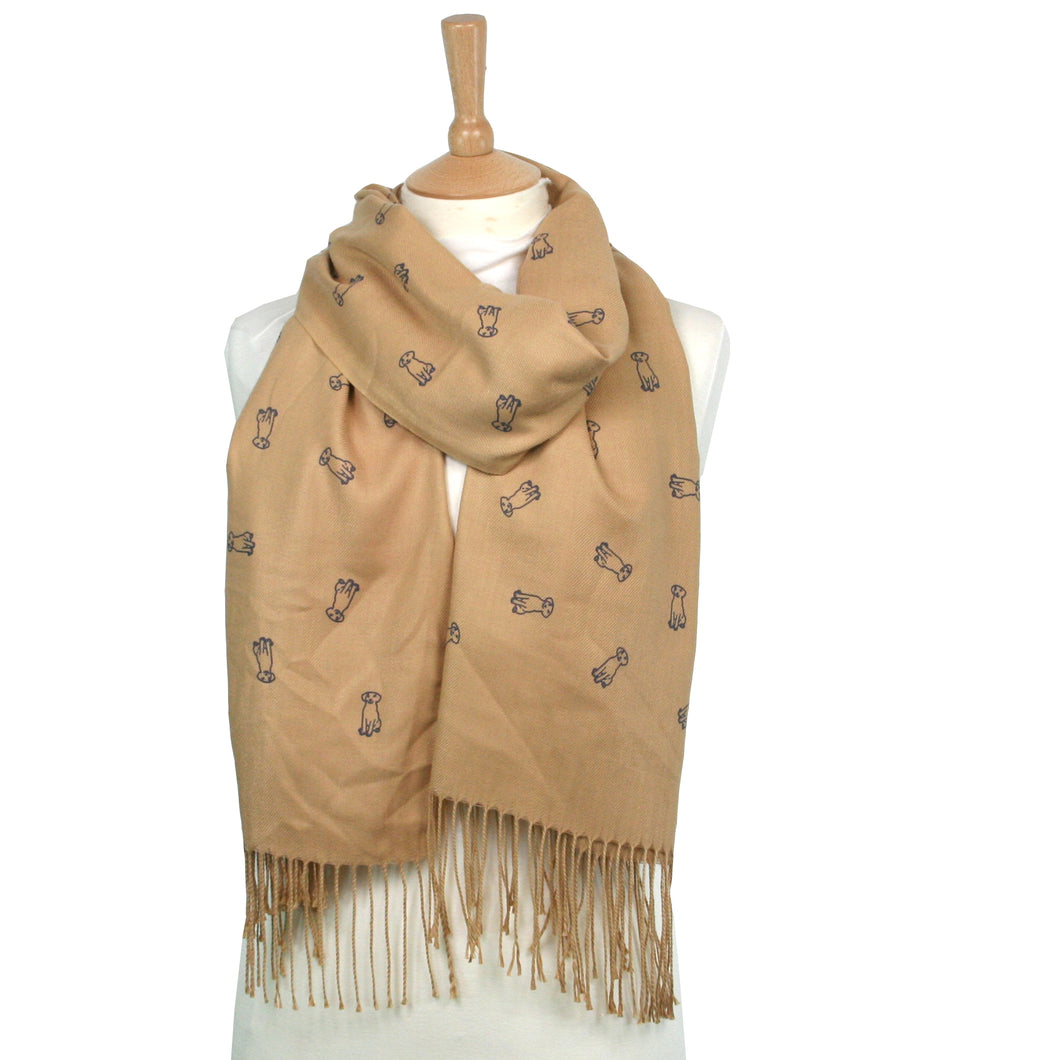 Dog Outline Thick Pashmina Style Scarf - Camel