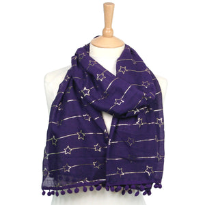 Star Scarf with Pom Poms Purple