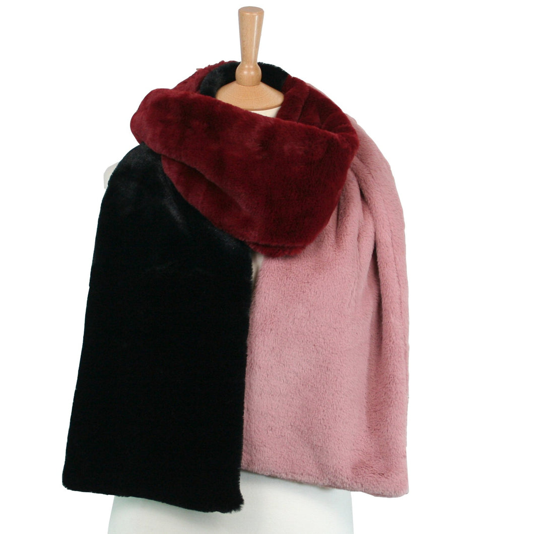 Faux Fur Feel Long Scarf Black, Maroon & Pink