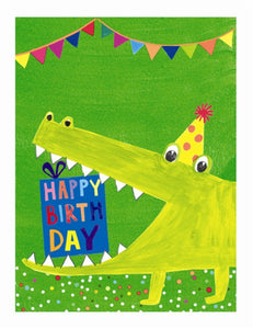 Bright Crocodile Birthday card