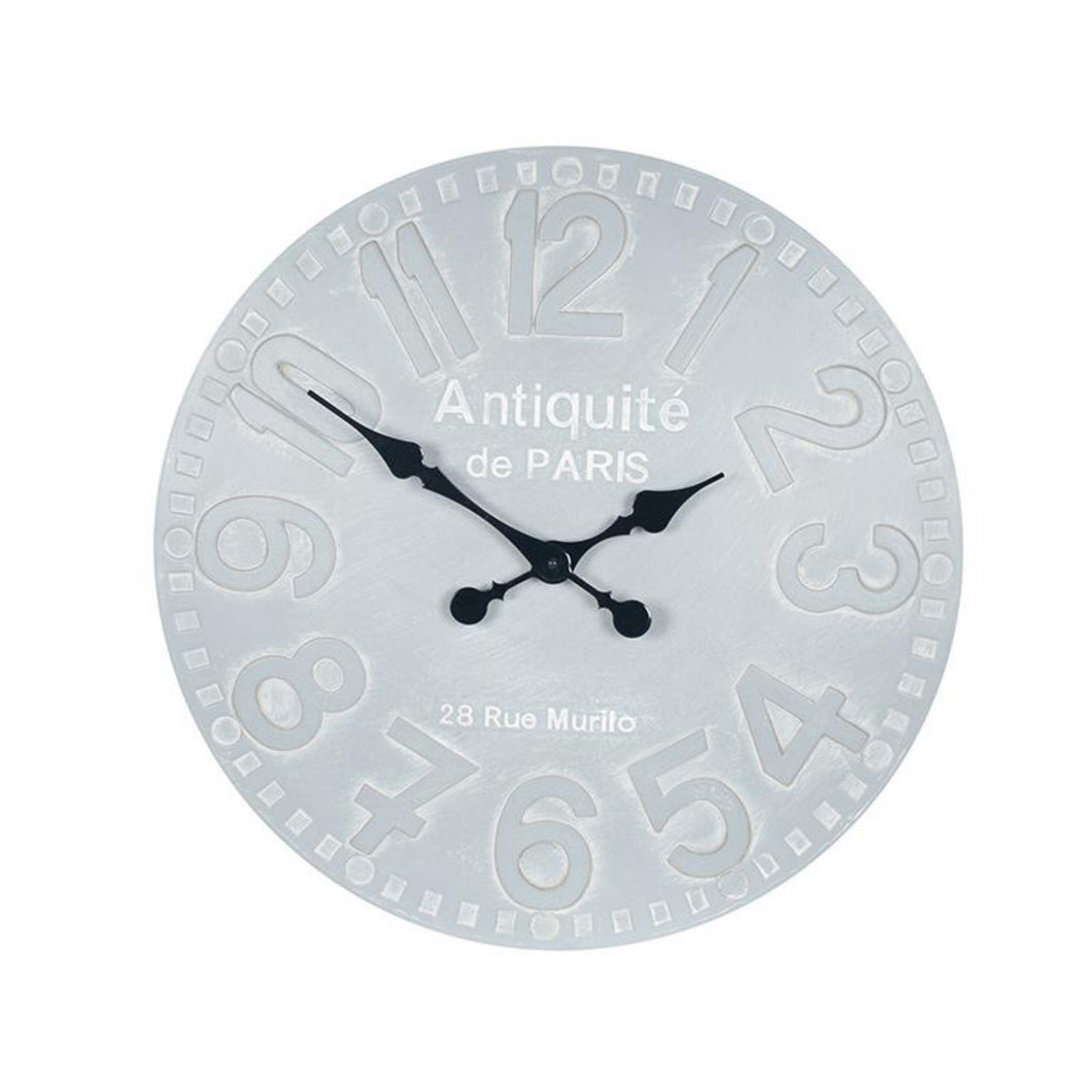 Antique French Style Dove Grey Round Wall Clock