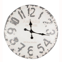 Load image into Gallery viewer, Antique French Style White & Grey Round Wall Clock
