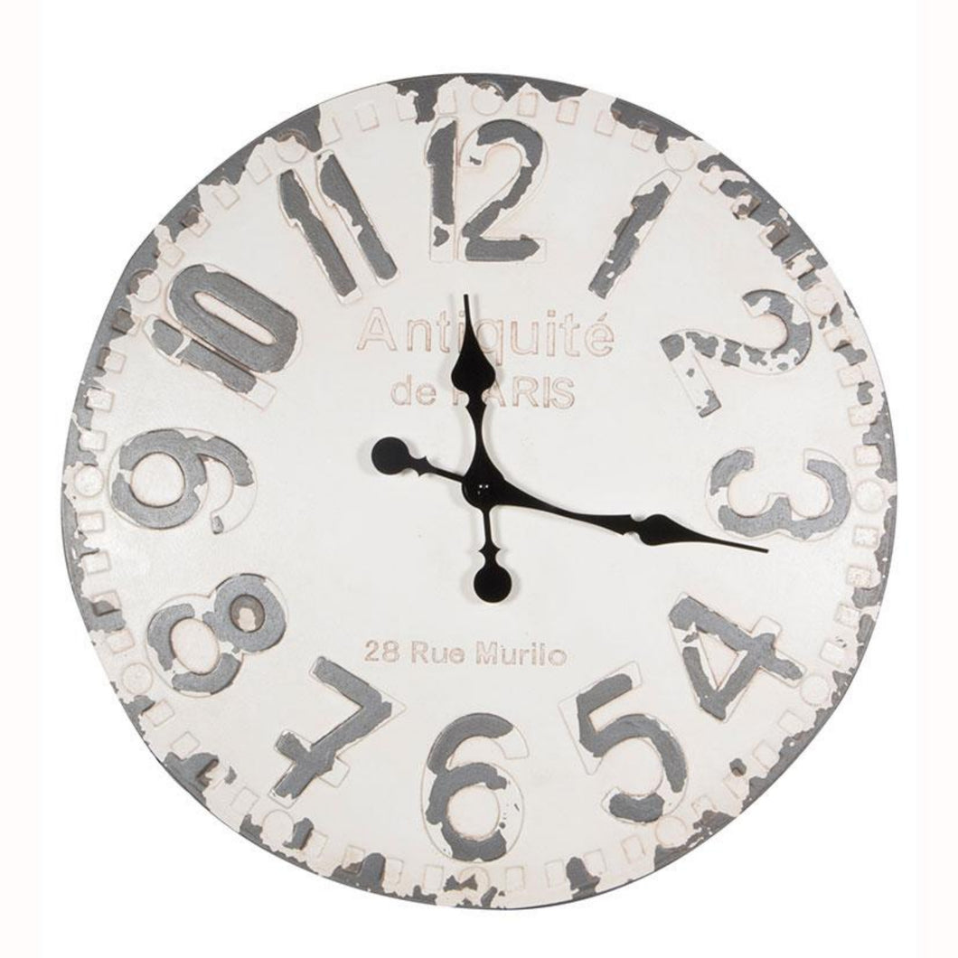 Antique French Style White & Grey Round Wall Clock
