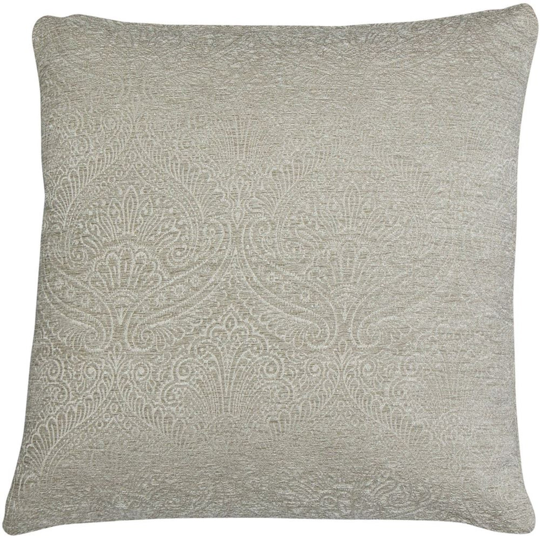 Damask Oatmeal Linen Square Cushion