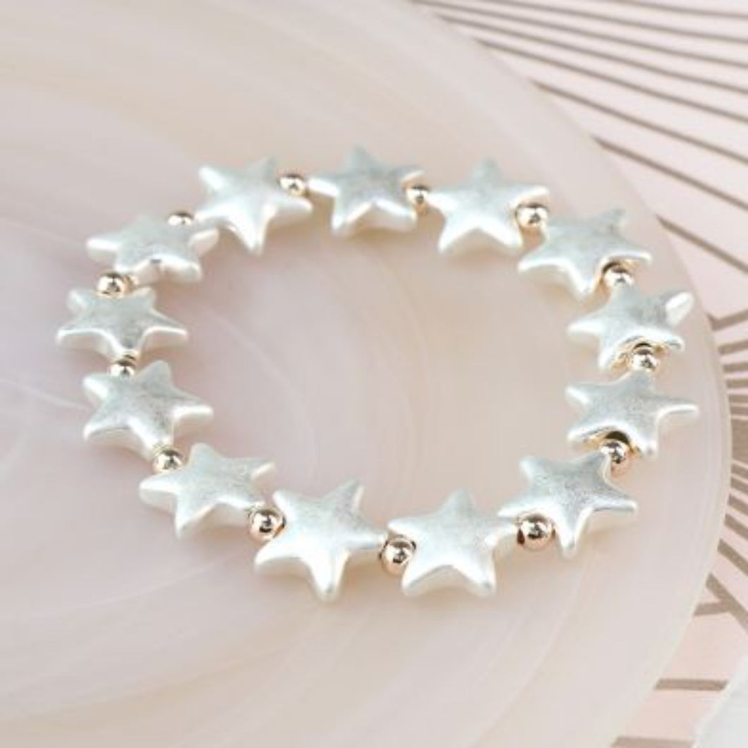 Silver Plated Matt Star and Rose Gold Bead Bracelet