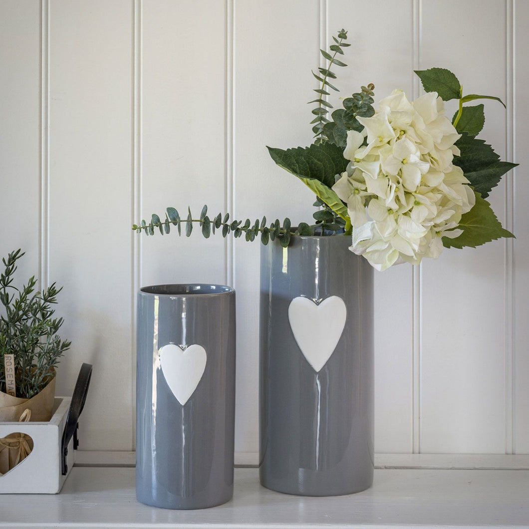 White Heart Grey Ceramic Vase