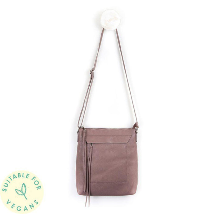 Rose Taupe Cross Body Vegan Leather Bag