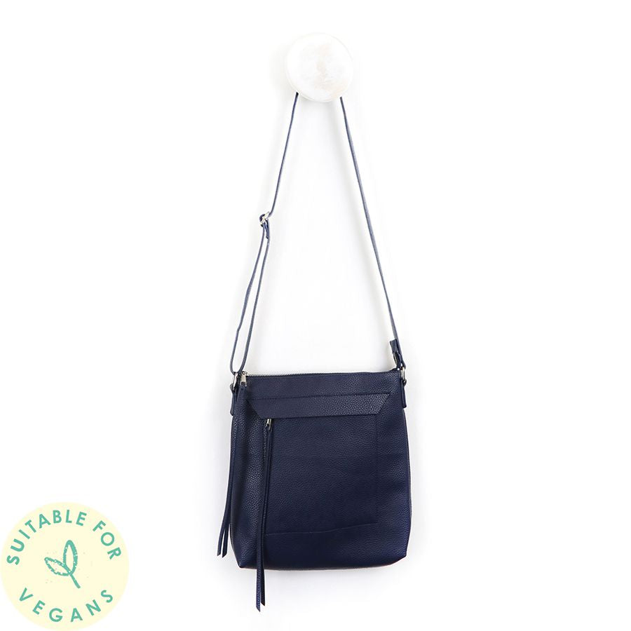 Navy Taupe Cross Body Vegan Leather Bag