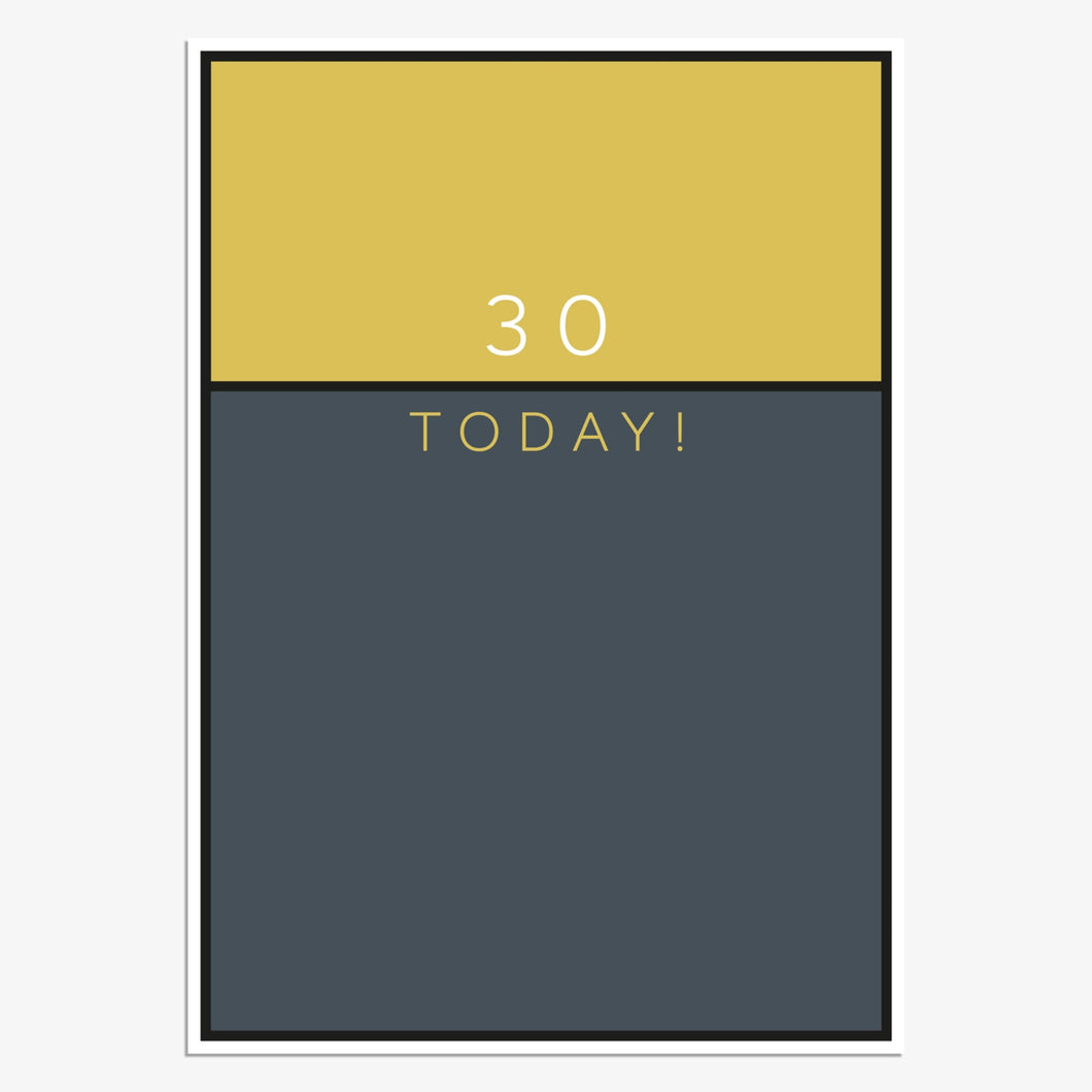 Gold/Navy - 30th Birthday card