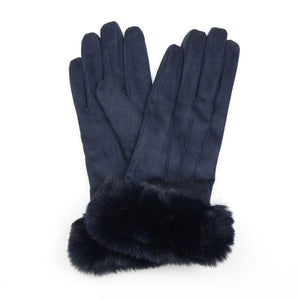 Navy Faux Suede Gloves with Faux Fur Trim