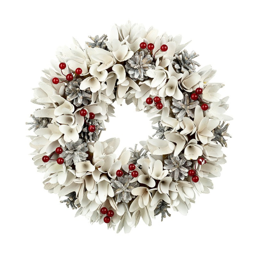 White Wreath With Red Berries