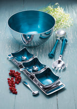 Load image into Gallery viewer, Aluminium & Turquoise Enamel Salad Bowl