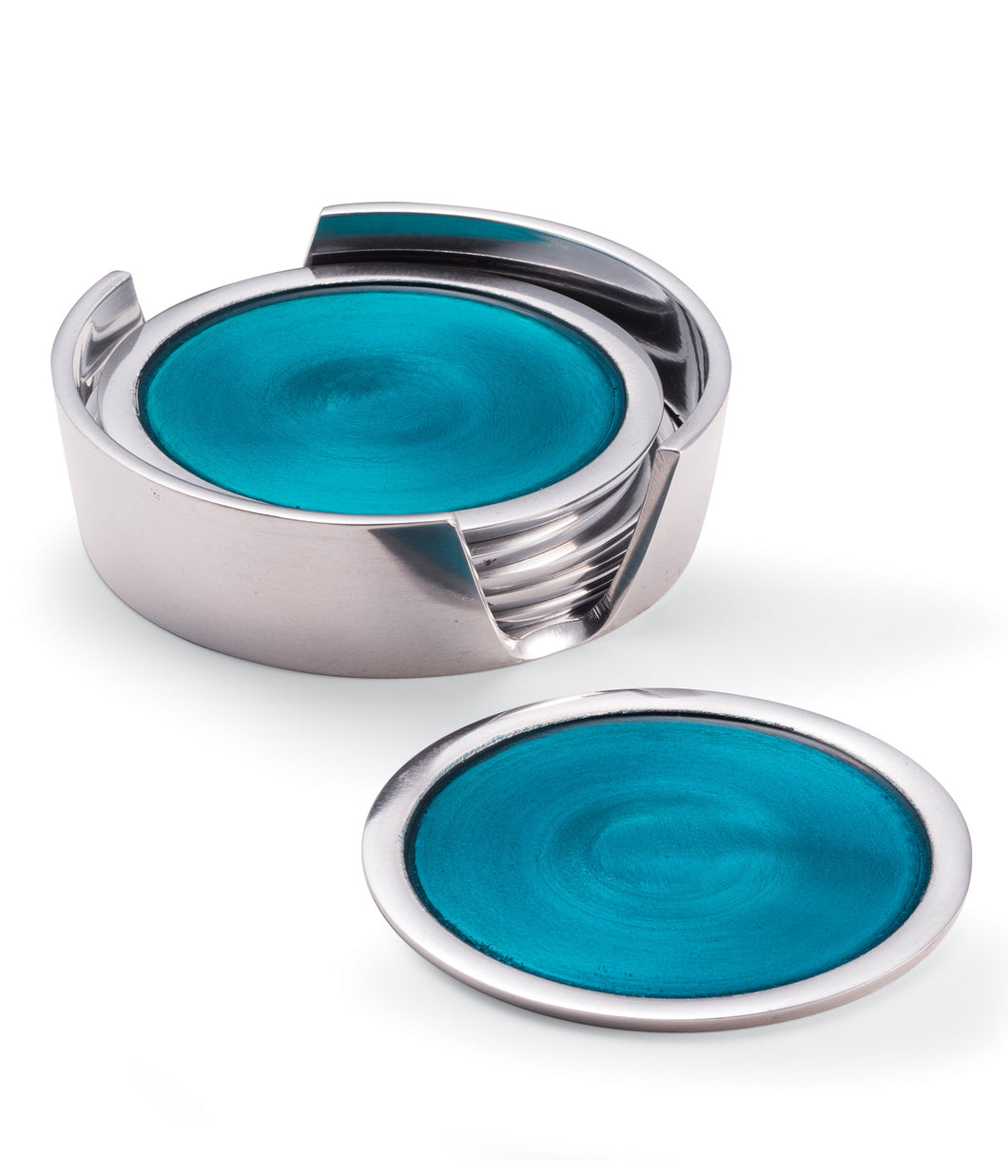 Set Of Six Recycled Aluminium & Turquoise Enamel Coasters-AL307