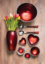 Load image into Gallery viewer, Small Aluminium & Red Enamel Heart Shaped Bowl
