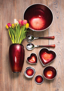 Large Aluminium & Red Enamel Heart Shaped Bowl