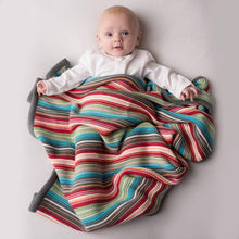Load image into Gallery viewer, Colourful Bright Striped Knitted Baby Blanket