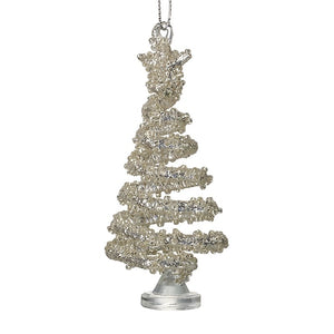 Silver Glass Hanging Christmas Tree Decoration