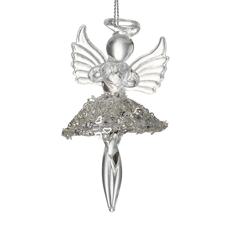 Silver & Glass Angel Tree Decoration