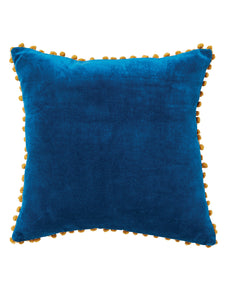Blue-Cotton-Velvet-Pom-Pom-Cushion